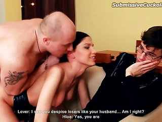 Hot wife fucked in front of husband