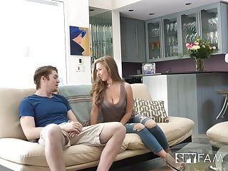 Shameless chick with sexy rounded ass Lena Paul jumps on dick on sofa