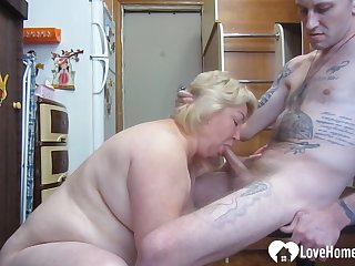 GILF likes to choke on my huge prick