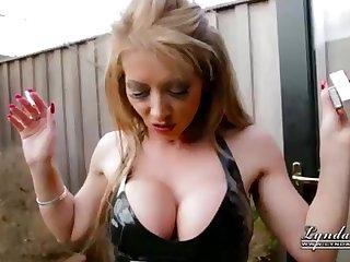 UK Housewife Cougar LyndaDressed in Spandex Smoking Outside