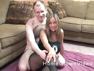 Blonde mature MILF made a sex tape with her nerdy husband