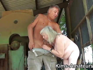 72 year old granny gives a blowjob and gets fucked