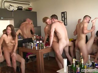 breathtaking czech mega group sex orgy