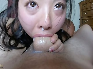 Creamy Semen dripping out of her NOSE!
