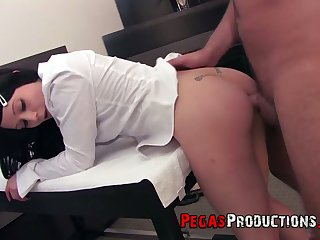 Depraved dark haired gal in short skirt Lily Fatale has nothing against hard anal