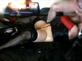 Crazy Latex Session at home with fat mature