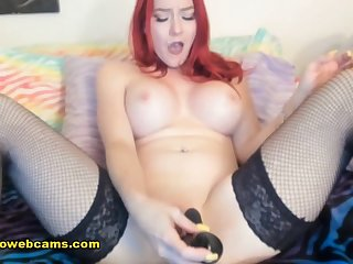 Redhead Babe Caressing Herself With Procreation Toys - low quality