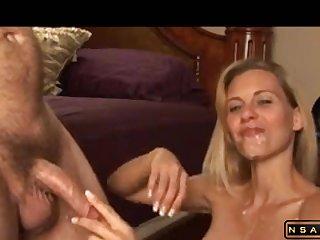 Sweet blond mommy sucks till massive facial