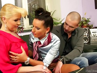 Shameless EU sluts threesome porn video