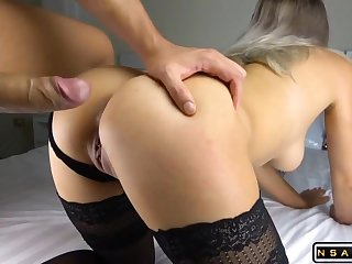 Super exciting GF on all fours shag and cum shot