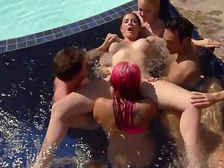 Sexy slut Jill Kelly and friends having fun in the pool