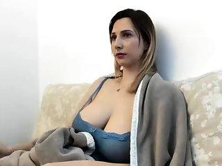 Homemade white lingerie masturbation