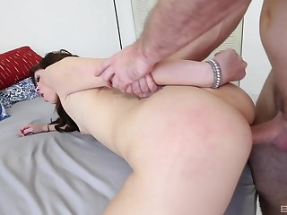 Pretty brunette doll delivers sizzling POV head and fucking