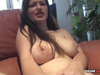 Beautiful girlfriend moans while using her toy