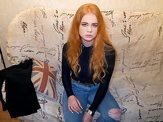 DEBT4k. Impressive redhead gives a blowjob and gets fucked