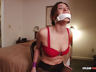 Brunette loves to get tied up and gagged