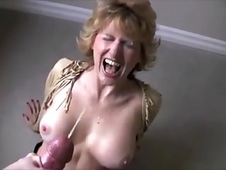Dirty Blonde breasted milf get a big facial