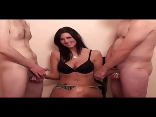 CFNM Game Jade teasing and watching two cocks jerk off for her - Milf