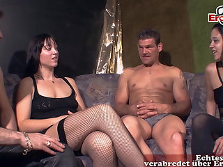 German amateur couple at swinger party with wife and girlfriend