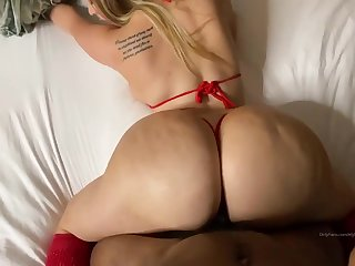 PAWG in red bikini Ely L Loves BBC - homemade interracial with cumshot