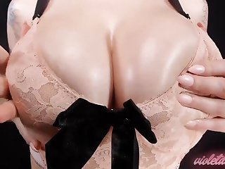 Bra Worship - big naturals close up in sexy lace bra