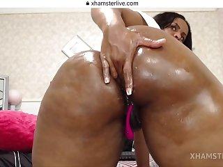 Black BBW insane webcam masturbation clip