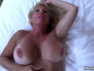 Thick-Boobed Ash-Blonde Mommy Observes On Youthfull Sinewy Lollipop